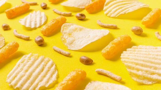 Hoge hoek van met chips
