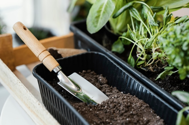 Hoge hoek van plantpot met aarde en troffel