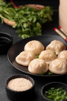 Hoge hoek van traditionele aziatische schotel met dumplings en kruiden