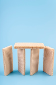 Hoge hoek van verticale wafels met kopie ruimte