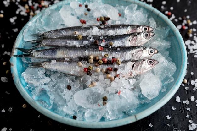 Hoge hoek van vis op plaat met ijs en kruiden
