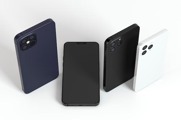 Hoge hoek verschillende smartphones ontwerpen