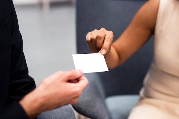 Hoge hoek visitekaartje identiteitsmodel