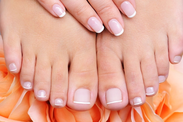 Hoge hoek vooraanzicht van een vrouwelijke schone, zuivere voeten met franse pedicure