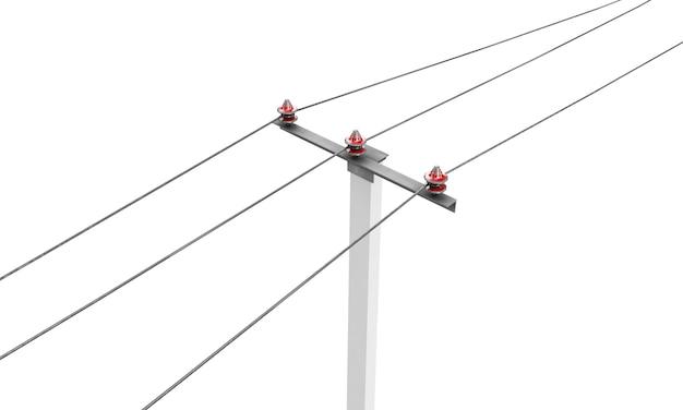 Hoge hoekmening van een 3d-gerenderde elektriciteitspaal op een witte achtergrond