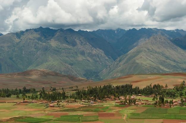 Hoge hoekmening van heilige vallei, cusco-gebied, peru