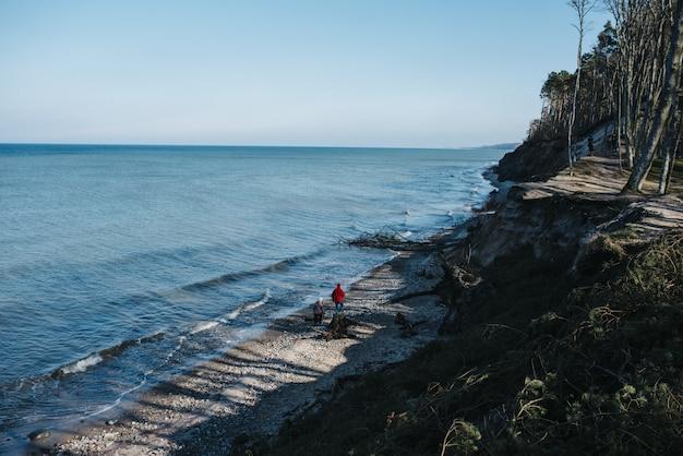 Hoge hoekmening van mensen die overdag door een strand lopen dat door de zee wordt omringd