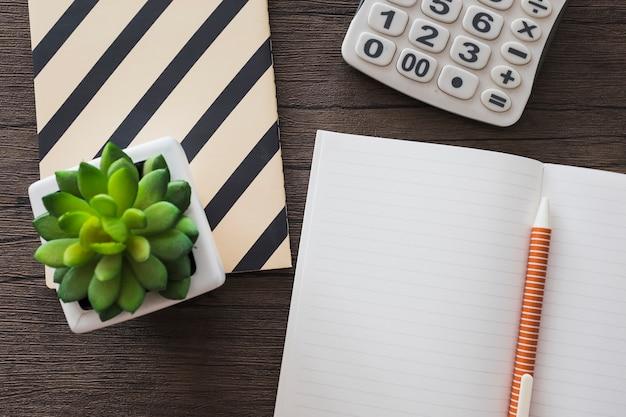 Hoge hoekmening van pen; notebook; rekenmachine en potplant op houten achtergrond
