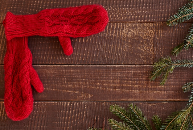 Hoge hoekmening van wollen handschoenen