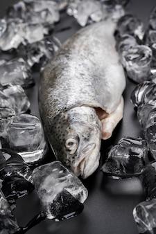 Hoge hoekvis met ijsblokjes