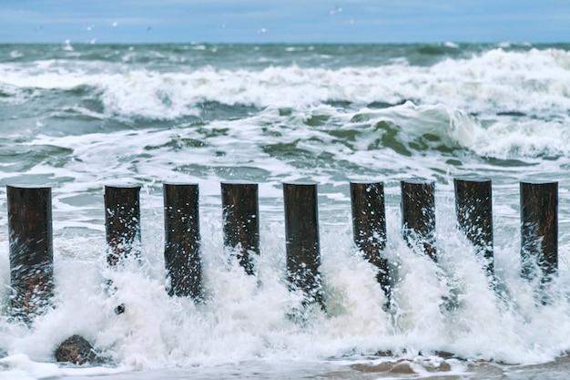 Hoge houten golfbrekers die zich uitstrekken aan de kustlijn, close-up. lange palen of kribben in schuimende zeegolven. bewolkte en stormachtige dag op zee.