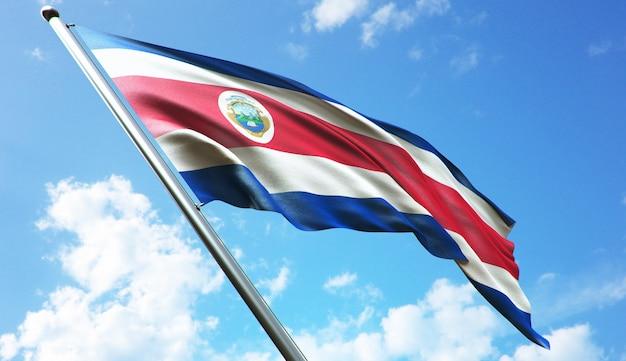 Hoge resolutie 3d-rendering illustratie van de costa ric-vlag met een blauwe hemelachtergrond