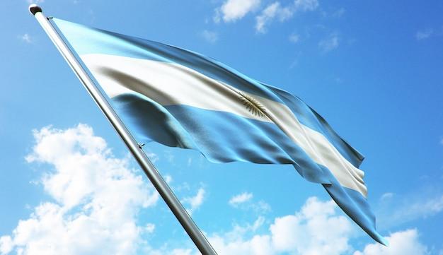 Hoge resolutie 3d-rendering illustratie van de vlag van argentinië met een blauwe hemelachtergrond