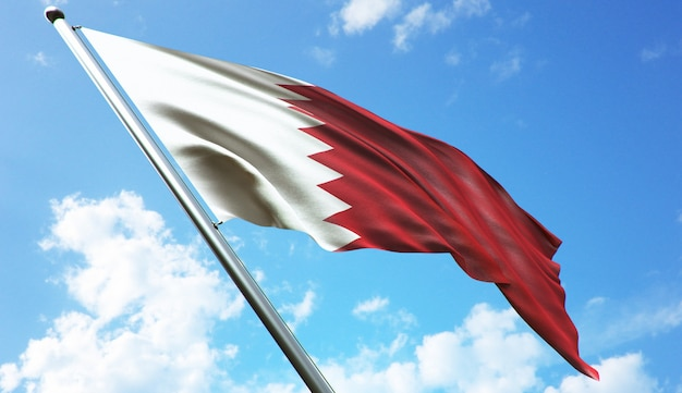 Hoge resolutie 3d-rendering illustratie van de vlag van bahrein met een blauwe hemelachtergrond