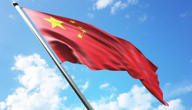 Hoge resolutie 3d-rendering illustratie van de vlag van china met een blauwe hemelachtergrond