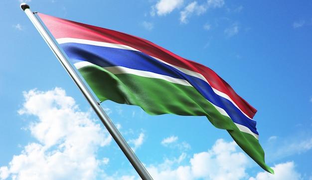 Hoge resolutie 3d-rendering illustratie van de vlag van gambia met een blauwe hemelachtergrond