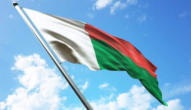 Hoge resolutie 3d-rendering illustratie van de vlag van madagaskar met een blauwe hemelachtergrond