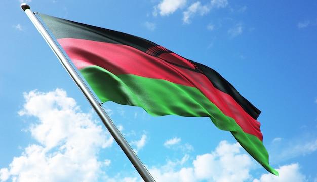 Hoge resolutie 3d-rendering illustratie van de vlag van malawi met een blauwe hemelachtergrond