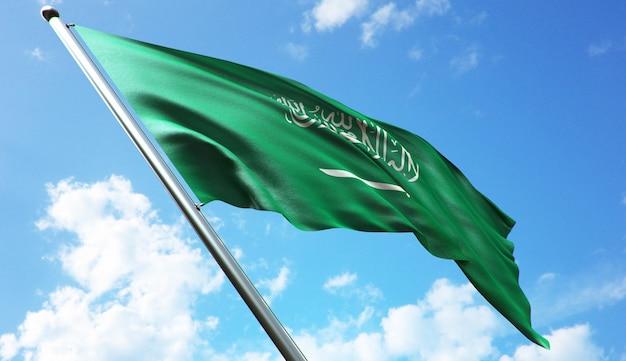Hoge resolutie 3d-rendering illustratie van de vlag van saoedi-arabië met een blauwe hemelachtergrond