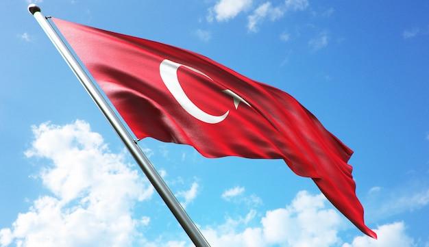 Hoge resolutie 3d-rendering illustratie van de vlag van turkije met een blauwe hemelachtergrond