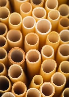 Hoge weergave biologische natuurlijke bamboe rietjes