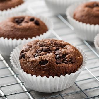 Hoge weergave smakelijke cupcake close-up