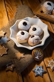 Hoge weergave snoep traditionele chanoeka joodse concept