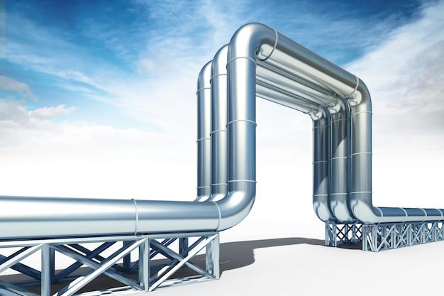 Hogedrukolie en aardgasleiding op witte achtergrond wordt geïsoleerd die