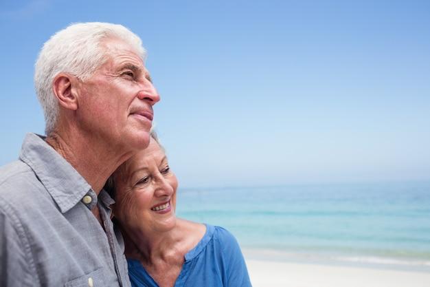 Hoger paar dat elkaar op het strand omhelst