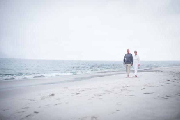 Hoger paar dat op het strand loopt