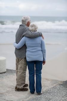 Hoger paar dat zich op het strand verenigt