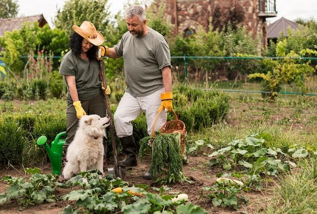 Hoger paar in tuin met een hond