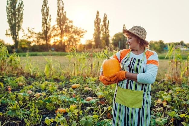 Hogere vrouwenlandbouwer het plukken de herfstgewas van pompoenen op landbouwbedrijf