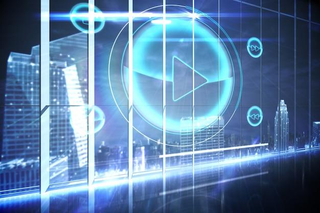 Hologram-interface in kantoor met uitzicht op stad