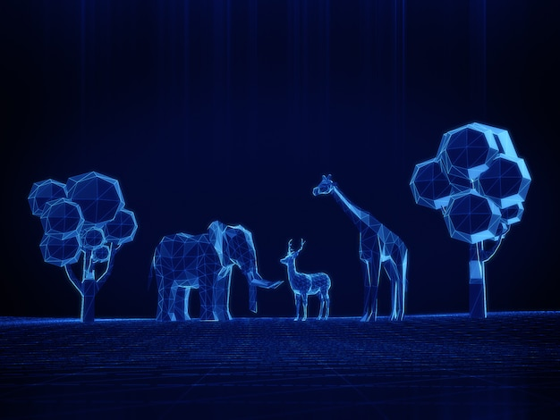 Hologram-modus van 3d-model lage polygoon olifanten, herten, giraffen op donkere ruimte.