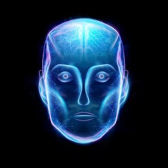 Hologram van een robotkop, kunstmatige intelligentie. concept neurale netwerken, automatische piloot, robotisering, industriële revolutie 4.0. 3d illustratie, 3d-rendering.