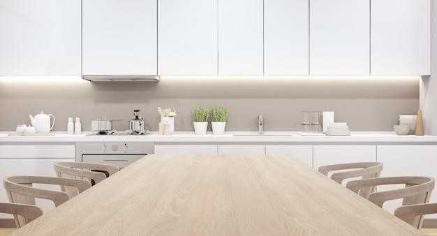 Home interieur 3d-rendering met lege houten boven tafel voor productweergave.