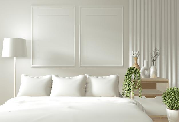 Home interieur muur mock up met houten bed, gordijnen en decoratie japanse stijl stijl in zen slaapkamer
