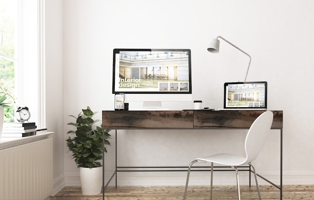 Home office-apparaten 3d-rendering responsief interieur