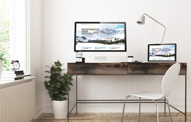 Home office-apparaten 3d-rendering responsive design website