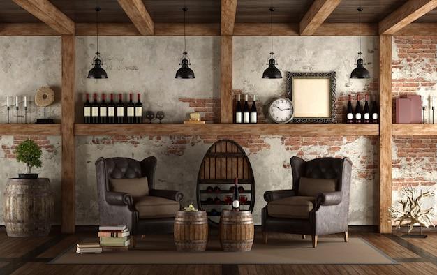 Home wijnkelder in retro stijl