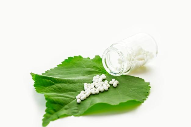 Homeopathische bolletjes en glazen fles op een groene plant blad op wit.