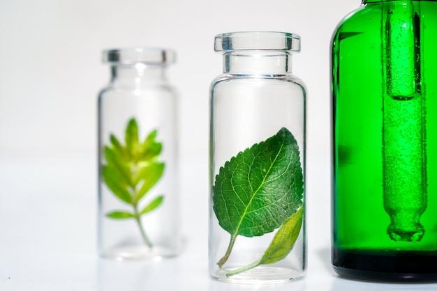 Homeopathische plantaardige oliën. concept van organische, biologische cosmetica en levensmiddelenadditieven