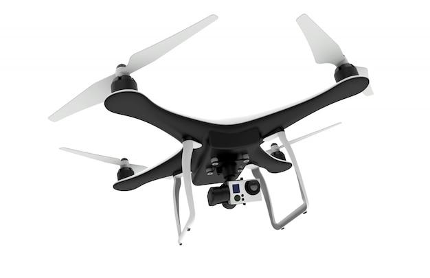 Hommel met digitale camera die op wit vliegt
