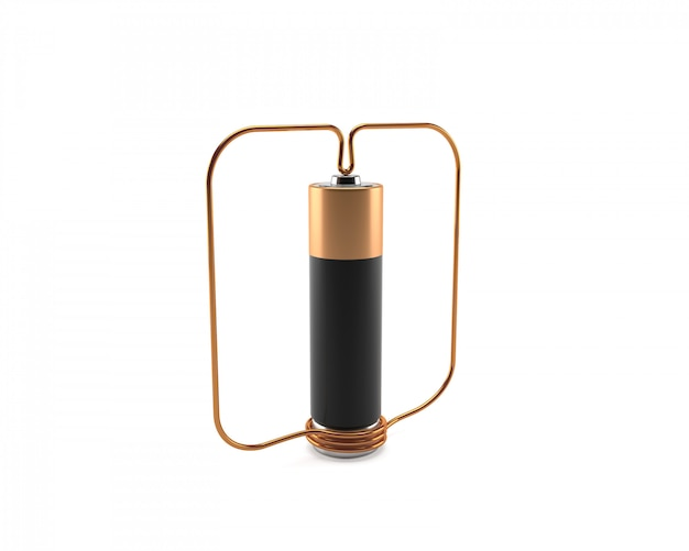 Homopolaire motor met batterij en koperdraad