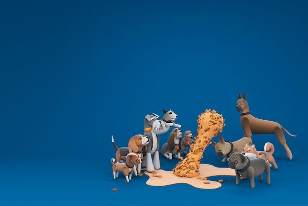 Hond activiteit 3d illustratie