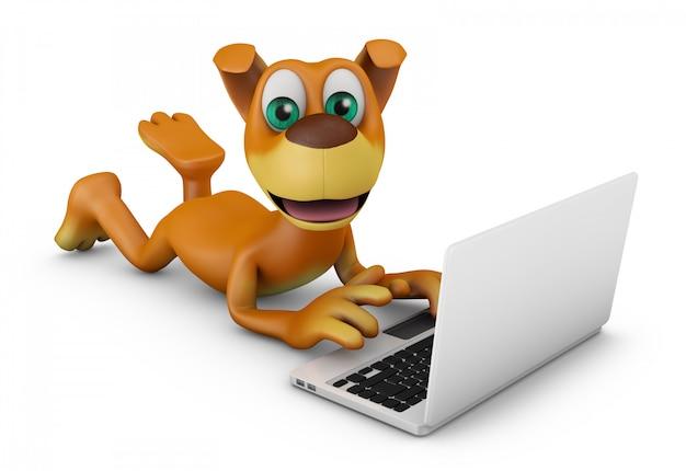 Hond met een laptop