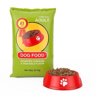 Hondenvoer tas pakketontwerp in de buurt van rode plastic kom met droogvoer voor hond op een witte achtergrond. 3d-rendering