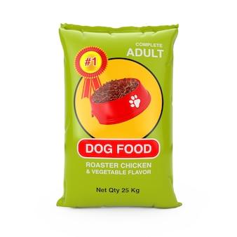 Hondenvoer tas pakketontwerp op een witte achtergrond. 3d-rendering