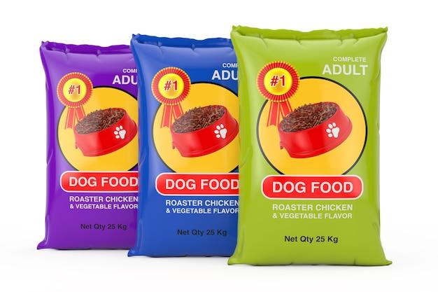 Hondenvoer tas pakketten ontwerp op een witte achtergrond. 3d-rendering